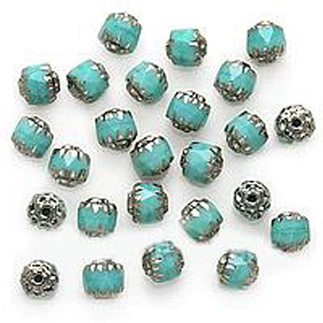Beadaholique Turquoise Czech Cathedral Glass 6-mm Beads (Case of 25)
