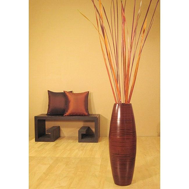 Autumn Palms in Bamboo Cylinder Floor Vase