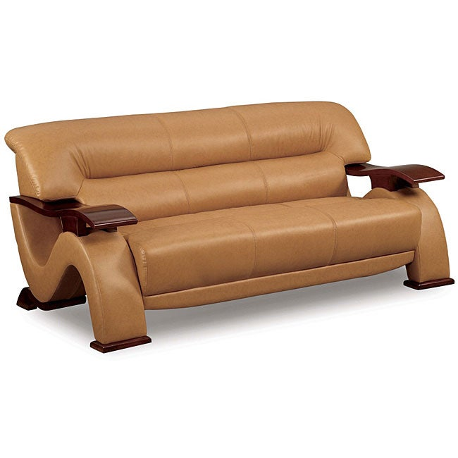 Dolcetto caramel brown leather sofa 11525249 overstock for Canape oxford honey leather sofa