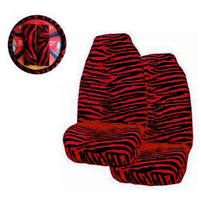 Red Zebra Print 5-piece Car Accessories Set