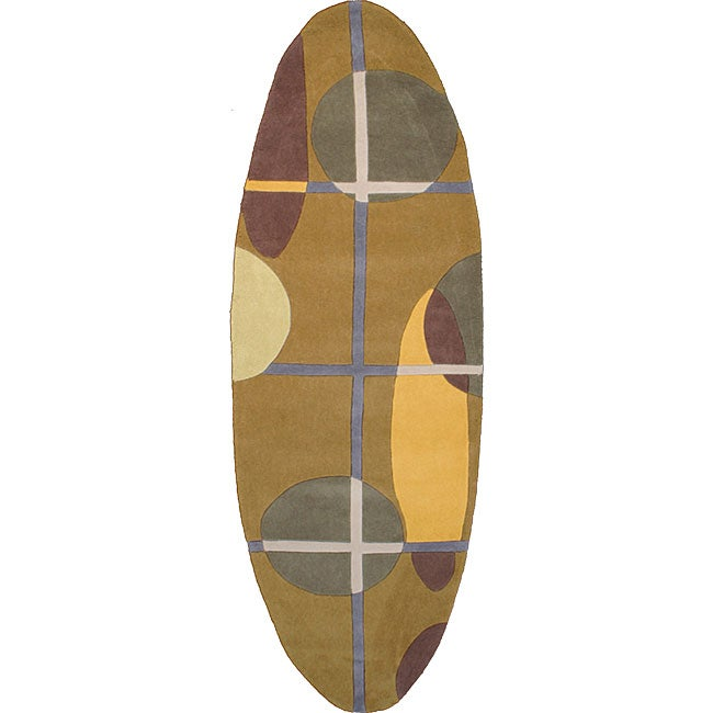 Surfboard Area Rug: Hand-tufted Oval Runner Surfboard Rug (2'6 X 8