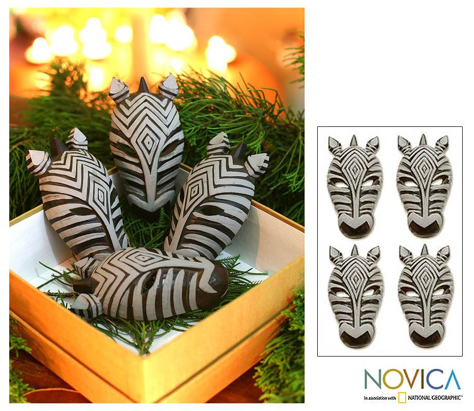 Set of 4 Wood 'Zebras' Ornaments (Indonesia)