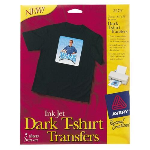 avery dark t-shirt iron-on transfers  pack of 5