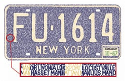 Vintage NY license plate made w/ all cities in NY