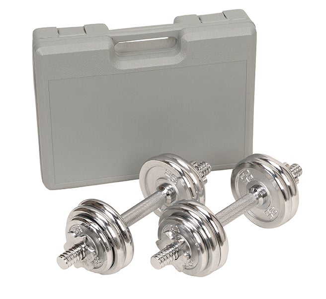 Chrome 33-pound Dumbbell Set