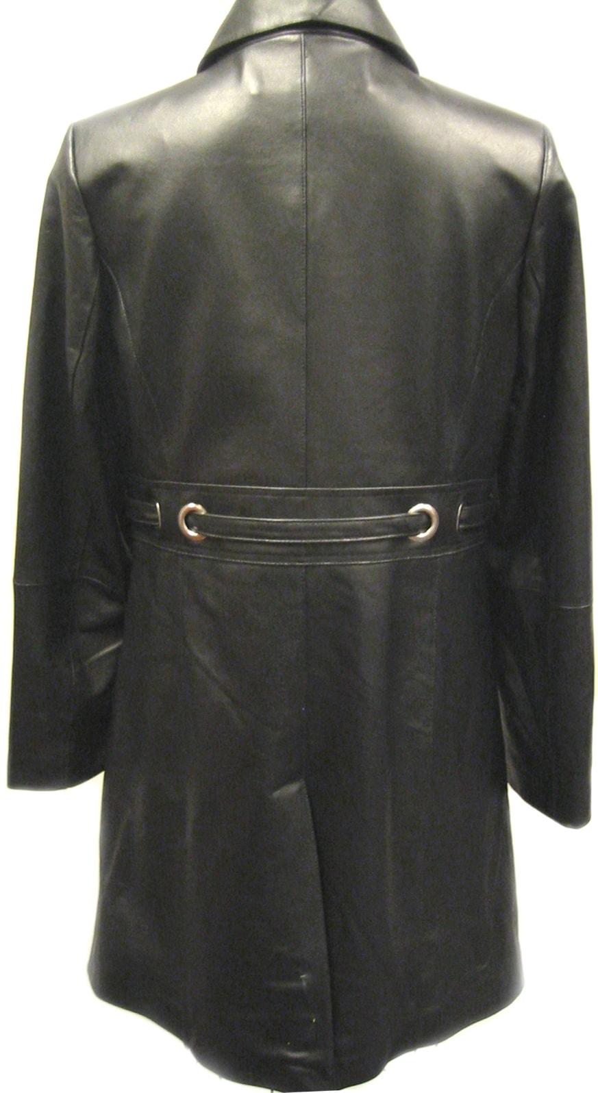 Komitor Women's 3/4 Length Plus Size Leather Coat