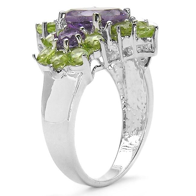 Malaika Sterling Silver Genuine Amethyst and Peridot Ring