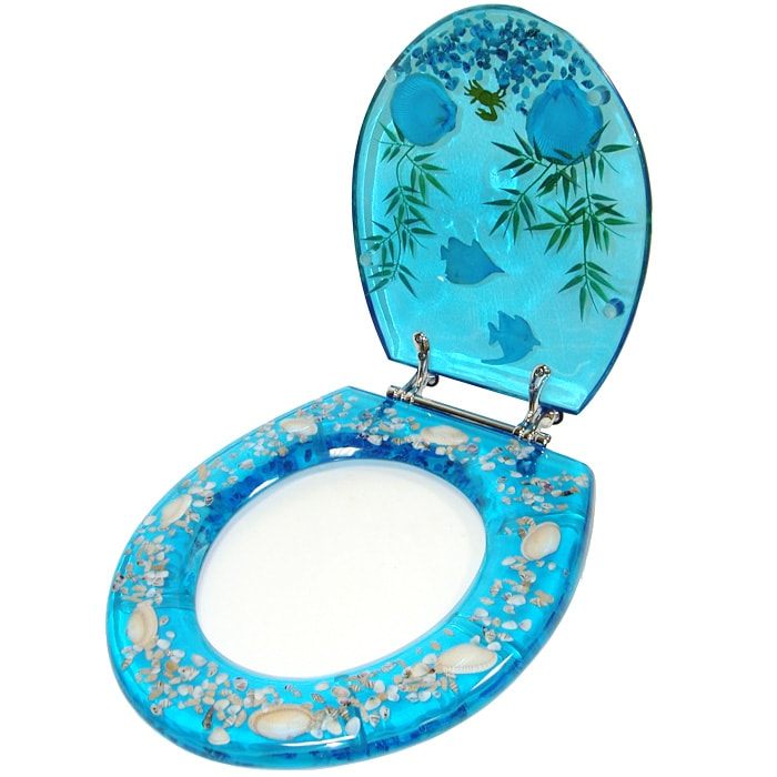 Clear Acrylic Toilet Seat with Tropical Fish