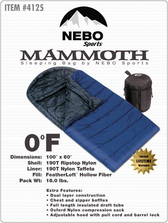 NEBO Sports Mammoth 0-degree Sleeping Bag