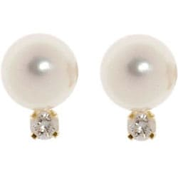 14k Gold 1/10ct TDW Cultured Pearl Earrings (7.5-8 mm) Set 2 pairs
