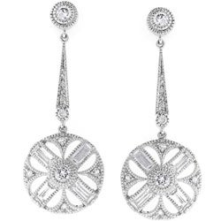 Kate Bissett Silvertone CZ Baguettes Drop Circle Earrings