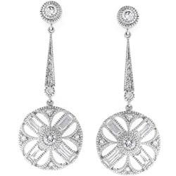 Kate Bissett Silvertone CZ Baguettes Drop Circle Earrings