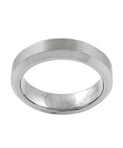 Men's Tungsten Beveled-edge Brushed Satin Band (6 mm)