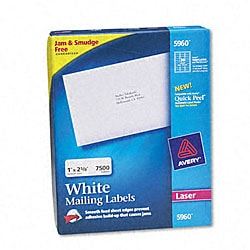 Avery White 1x4-inch Sheetfed Laser Address Labels (Box of 5000)