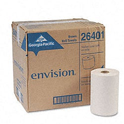 Georgia-Pacific Envision 1-Ply Nonperforated Paper Towel Rolls - 12 Rolls/Ct
