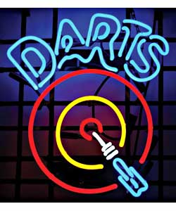 Dart Board Neon Garage Sign