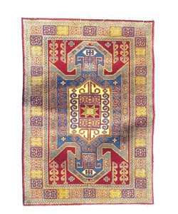 Indo Kazak Hand-knotted Red/Gold Rug (5' x 7')