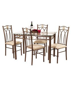 Glass-top Crown 5-piece Dinette Set