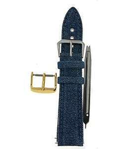 Blue Denim Genuine Leather Watch Strap