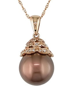14k Pink Gold Brown Tahitian Pearl Diamond Necklace