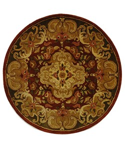 Safavieh Handmade Classic Juliette Rust/ Green Wool Rug (3'6 Round)