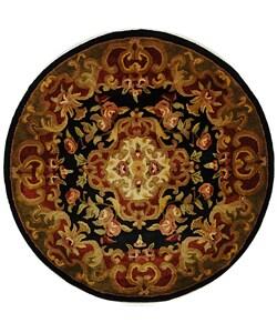 Safavieh Handmade Classic Juliette Black/ Green Wool Rug (3'6 Round)
