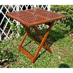 Acacia 28-inch Square Checkerboard Folding Table