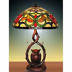 Tiffany-style Stained Glass Owl Table Lamp