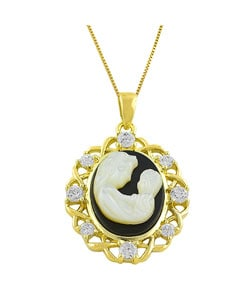 Fremada 14k Gold Over Silver Mom and Baby Cameo Necklace