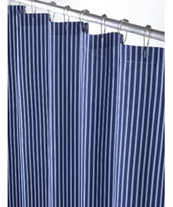 blue and white thin stripe canvas shower curtain