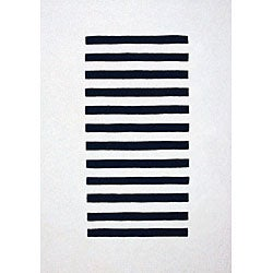 Hand-tufted Trax White Wool Rug (8' x 11')