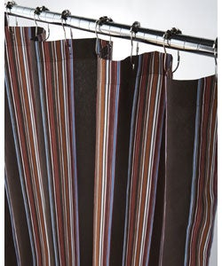 Extra Long Luggage Stripe Canvas Shower Curtain | Overstock.