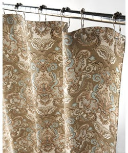 Royale Tan and Aqua Damask Shower Curtain | Overstock.
