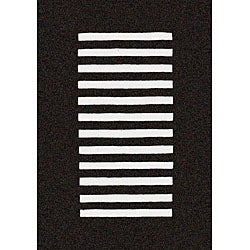 Hand-tufted Trax Black Wool Rug (7' x 9')
