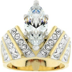 Goldtone Marquise Cubic Zirconia Ring