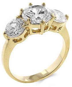 Goldtone Three-stone Cubic Zirconia Ring