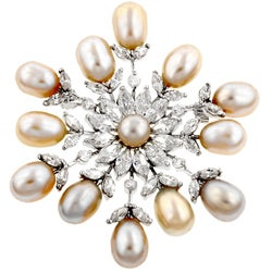 Silvertone Cubic Zirconia Snowflake Brooch Pin with Freshwater Pearls