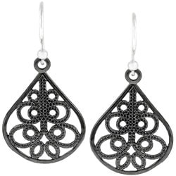 Kate Bissett Silvertone Teardrop Tribal Earrings