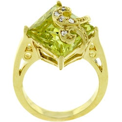 Kate Bissett 18k Gold Over Sterling Silver Green CZ Ring