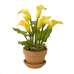 Potted Faux Yellow Calla Lillies