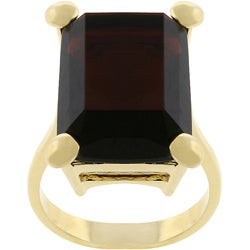 Kate Bissett Goldtone  Emerald-cut Chocolate CZ Cocktail Ring