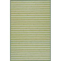 Handmade Lime Green Stripe Bamboo Rug (8' x 10')