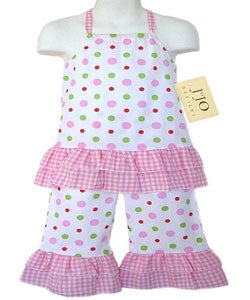 Sweet Jojo Designs Infants 2-piece Pink Dot Halter Outfit