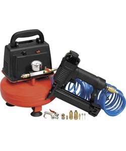 1/3HP 1-gallon Oil-less Air Compressor w/ Nail Gun