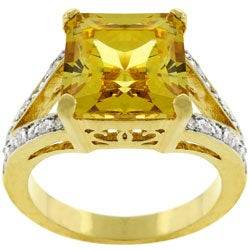 Kate Bissett Goldtone Yellow Princess CZ Cocktail Ring