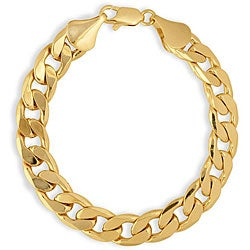 Simon Frank 14k Yellow Gold Overlay 8-inch Cuban Bracelet 10mm