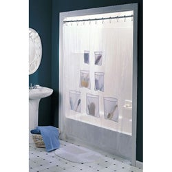 Vinyl with Mesh Pockets Shower Curtain | Overstock.com Shopping