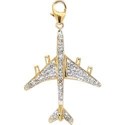 14k Yellow Gold 1/10ct TDW Diamond Airplane Charm