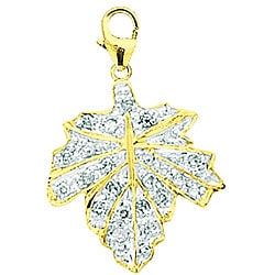 14k Gold 1/10ct TDW Diamond Maple Leaf Charm