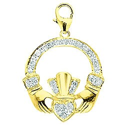 14k Yellow Gold 1/10ct TDW Diamond Irish Claddagh Charm (H-I/J, I2)